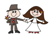 Cute cartoon wedding couple. Funny colorful doodle (cartoon) illustration of a happy bride and bridegroom Stock Images