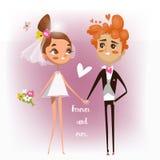 Cute cartoon wedding couple Stock Photo