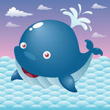 Cute cartoon whale Stock Images