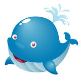 Cute cartoon whale. Illustration of a cute cartoon whale Royalty Free Stock Photo