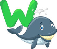 Cute cartoon whale with alphabet Stock Photography