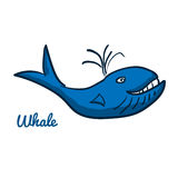 Cute cartoon whale. Ocean animal vector illustration. Sea creature in a funny, hand drawn style Stock Image