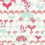 Cute cartoon whale and waves seamless pattern. Stock Image