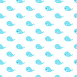 Cute cartoon whales geometric seamless pattern. Simple and nice for baby and kids. Blue whales on a white background Stock Photos