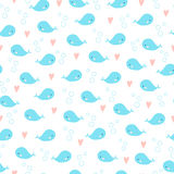 Cute cartoon whales seamless background. Hearts and bubbles around. Blue and pink colors Stock Photography