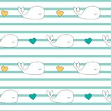 Cute cartoon whales seamless vector pattern background illustration Stock Image