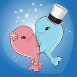 Cute cartoon whales. Two Cute cartoon whale on blue background Royalty Free Stock Photos