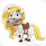 Cute cartoon white baby horse Stock Photos