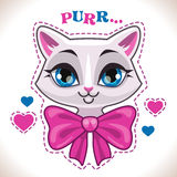 Cute cartoon white cat Royalty Free Stock Images