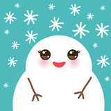 Cute cartoon white kawaii snowmen with snowflakes Royalty Free Stock Photo