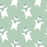 Cute cartoon white polar bear with snow seamless pattern background illustration Stock Image