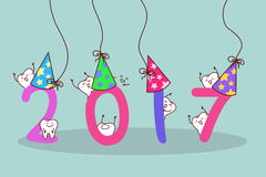 Cute cartoon white tooth. Happy new year with cute cartoon white tooth Stock Photo