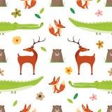 Creative Cute Wild Animals vector pattern royalty free illustration