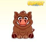 Cute Cartoon Wild Boar. Funny Vector Animal Stock Images