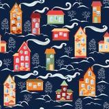 Cute cartoon winter city map Stock Image