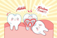 Cute cartoon wisdom teeth. With health concept Stock Images