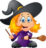 Cute cartoon witch Stock Photos