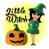 Cartoon illustration of a little witch for Halloween vector illustration