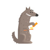 Cute cartoon wolf holding a toothbrush and a toothpaste colorful character, animal grooming vector Illustration Stock Image