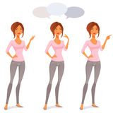 Cute cartoon woman in jeans Stock Images