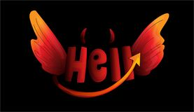 Cute cartoon word Hell with devil horns, tail and evil wings on black background. Vector illustration of hell concept. With devil wings horns and tail of evil stock illustration