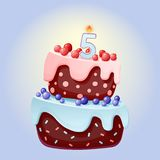 Cute cartoon 5 year birthday festive cake with candle number five. Chocolate biscuit with berries, cherries and blueberries. For stock illustration