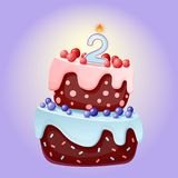 Cute cartoon 2 year birthday festive cake with candle number two. Chocolate biscuit with berries, cherries and blueberries. For vector illustration