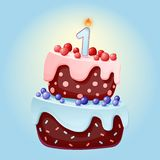 Cute cartoon 1 year birthday festive cake with one candle. Chocolate biscuit with berries, cherries and blueberries. For parties, vector illustration
