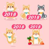 Cute cartoon 2018 year Royalty Free Stock Image