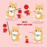 Cute cartoon 2018 year Royalty Free Stock Photo