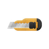 Cute cartoon of yellow box cutter isolated is knife for cut to p Royalty Free Stock Images