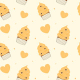 Cute cartoon yellow cupcakes seamless pattern background illustration Royalty Free Stock Photo