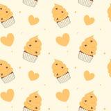 Cute cartoon yellow cupcakes seamless pattern background illustration Royalty Free Stock Photo