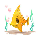 Cute cartoon yellow fish on the sea bottom. Vector illustration Royalty Free Stock Images