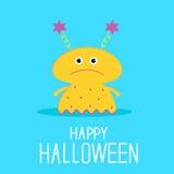 Cute cartoon yellow monster girl. Happy Halloween  Stock Photo