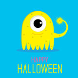 Cute cartoon yellow monster girl. Happy Halloween  Stock Photography