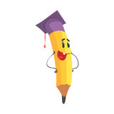 Cute cartoon yellow pencil character wearing graduation cap, humanized funny pencil vector Illustration Stock Photography