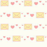 Cute cartoon yellow and pink love letters with hearts seamless pattern romantic background illustration Stock Image
