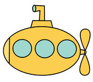 Cute cartoon yellow submarine isolated on white background vector illustration Stock Photography