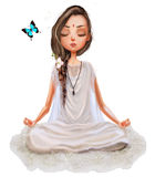 Cute cartoon yoga girl. Cute cartoon girl in yoga lotus pose vector illustration
