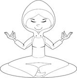 Cute Cartoon Yoga Girl Outline Royalty Free Stock Image