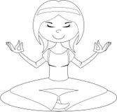 Cute Cartoon Yoga Girl Outline Stock Image