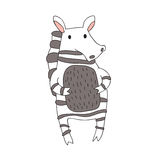 Cute cartoon zebra character, vector isolated illustration in simple style. Stock Photos