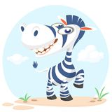 Cute cartoon zebra character. Wild  animal collection. Baby education. Isolated vector illustration. Stock Photography