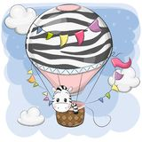 Cute Zebra is flying on a hot air balloon. Cute Cartoon Zebra is flying on a hot air balloon stock illustration
