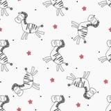 Cute cartoon zebra seamless pattern. Vector illustration royalty free illustration