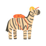 Cute cartoon zebra in yellow can and with backpack on its back. African animal colorful character vector Illustration Royalty Free Stock Photos