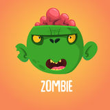 Cute cartoon zombie head. Halloween vector illustration isolated. Stock Photos