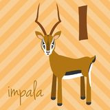 Cute cartoon zoo illustrated alphabet with funny animals: I for Impala. English alphabet. Learn to read.  Vector illustration Royalty Free Stock Photography
