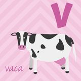 Cute cartoon zoo illustrated alphabet with funny animals. Spanish alphabet: V for Vaca. royalty free illustration